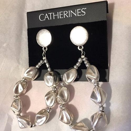 Women's Silver Bead Drop Pierced Earrings
