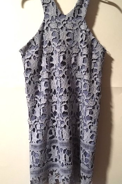 Juniors Size Large Blue Embroidered Lace Dress