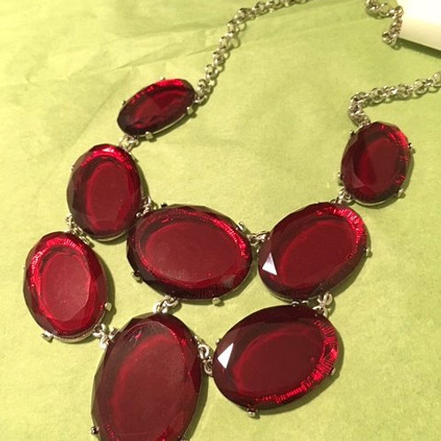 Ladies Silver Red Large Rhinestone Necklace