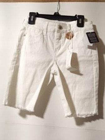 Girls Optic White Frayed Bermuda Shorts
