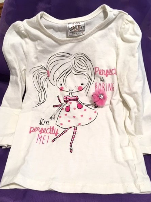 Toddler Girls Size 3T White Graphic Top