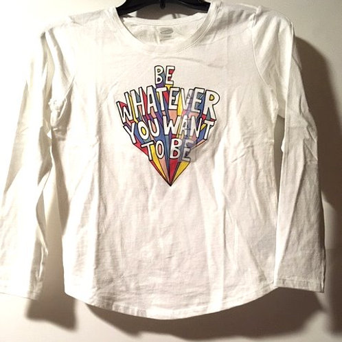Girls White Graphic Long Sleeve Top