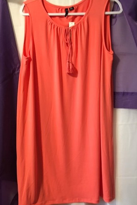 Ladies Petite Coral Sleeveless Dress