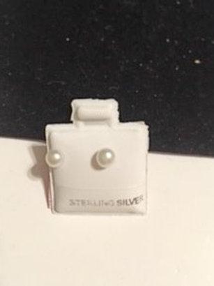 Ladies Girls Small Simulated Pearl Stud Earrings