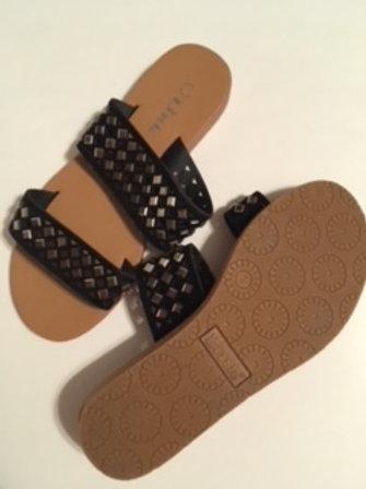 Girls Black Slip On Sandals by Link