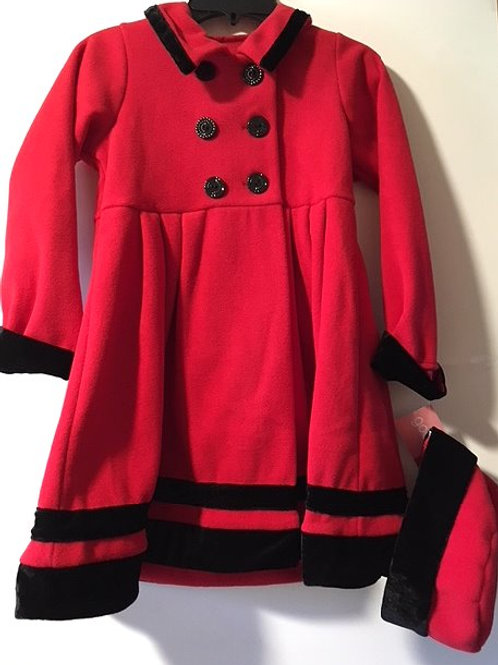 Girls Size 6X Red Classic Dress Coat With Hat