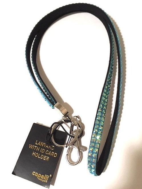 Capelli Aqua Jeweled Lanyard ID Card Holder