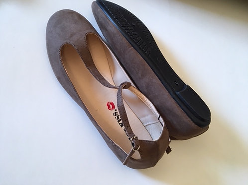 Ladies Taupe Brown Suede Shoes
