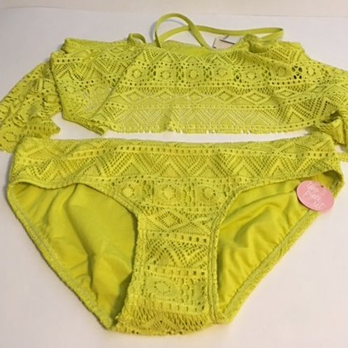 Girls Size 16 Lime Green Two Piece Swimsuit