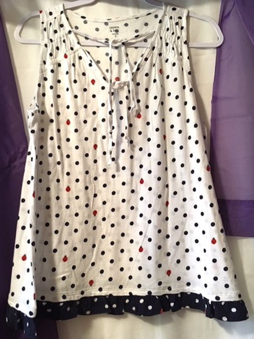 Juniors Size Small V-Neck Drawstring Shoulder Top