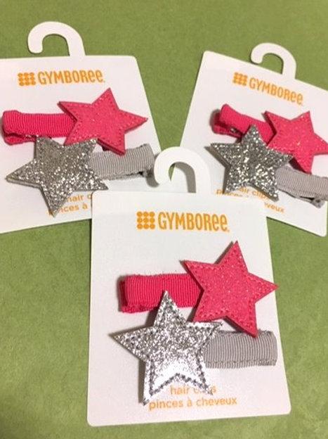 Girls Set Pink & Silver Glitter Star Hair Clips