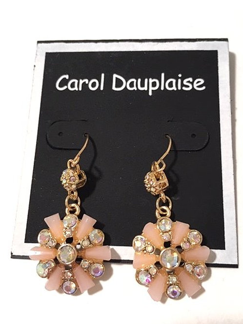 Ladies Pink & Clear Rhinestone Flower Dangling Pierced Earrings