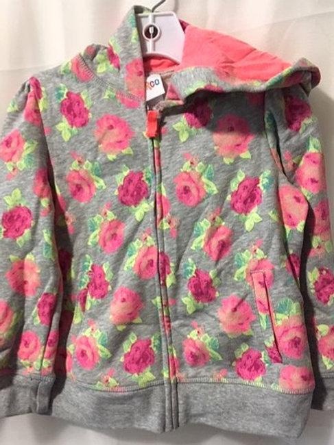 Toddler Girls Gray Pink Rose Hoodie
