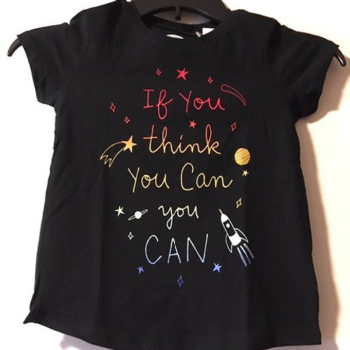 Toddler Girls Size 5T Black Short Sleeve Top