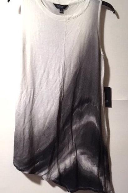 Ladies Size Small White Black Sleeveless Tunic Top
