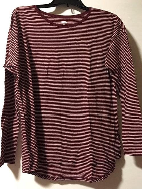 Girls XXL Plus 16 Maroon Striped Long Sleeve Top