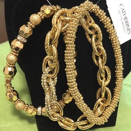 Women's Gold Stretch Multi Set Catherines Bracelets