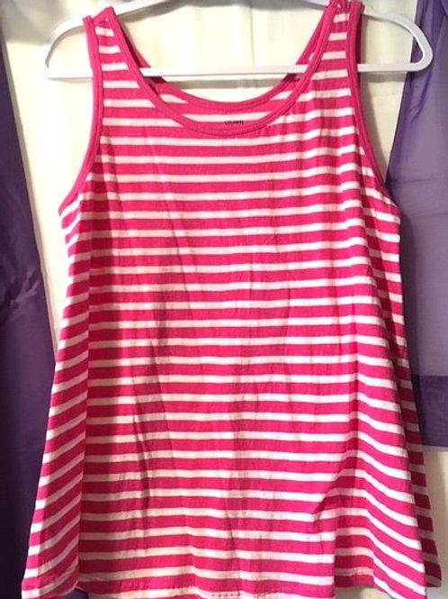 Ladies Petite Pink White Stripe Sleeveless Top