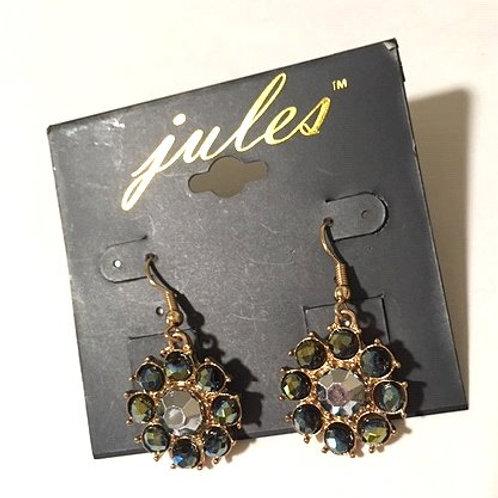 Ladies Green Rhinestone Dangling Pierced Earrings