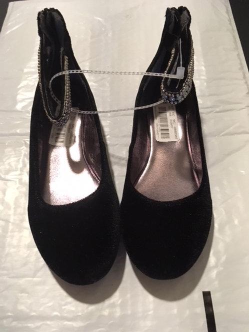 Girls Black Velvet Ankle Beaded Strap Shoes by Steve Madden