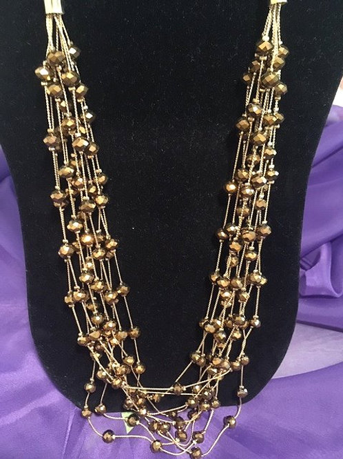 Ladies Multi Gold Long Strand Brown Orbs Necklace