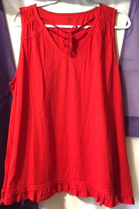 Juniors Size XL Red Sleeveless Top