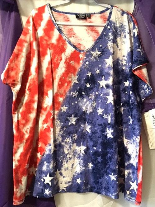Women's Size 3X Patriotic Rhinestone Bling Top