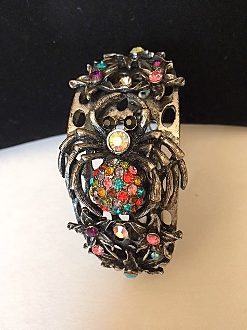 Ladies Spider Design Multi Color Rhinestones Bracelet