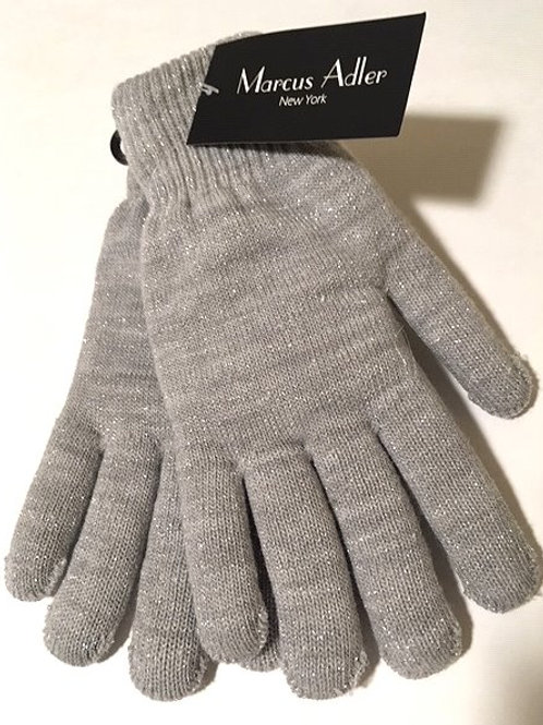 Ladies Gray/Silver Sparkle Lined Stretch Gloves