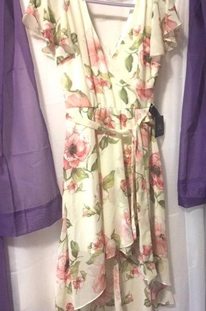 Juniors Size 5 Cream Pink Floral Flutter Sleeve Dress