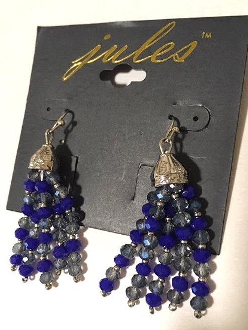Ladies Multi Blue Beaded Dangling Pierced Earrings