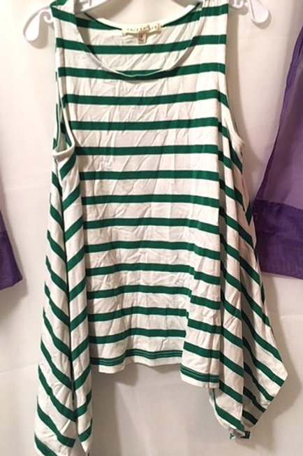 Girls Size Small 7 - 8 Green White Sleeveless Top