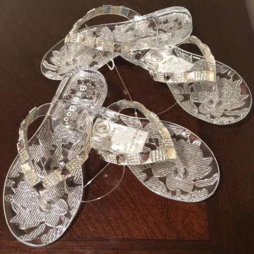 Toddler Girls Clear Rhinestone Bamboo Sandals