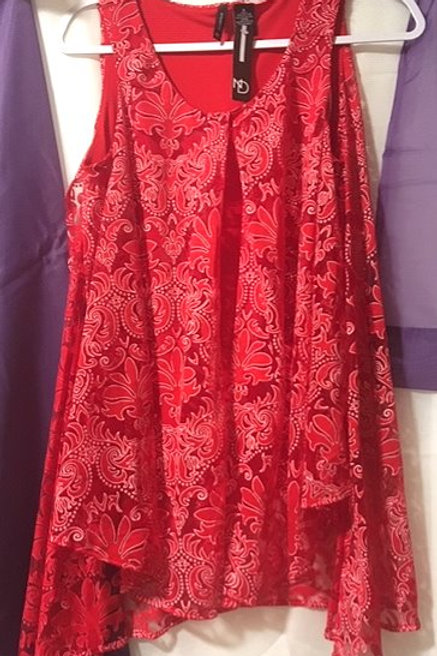 Ladies Size Small Red Shear Overlay Top