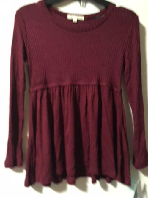 Girls Burgandy Long Sleeve Tunic Top