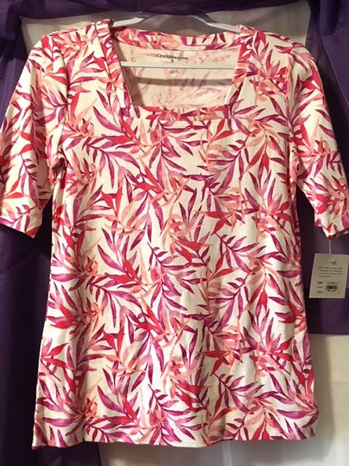 Ladies Size Small Multi Pink Design Short Sleeve Top