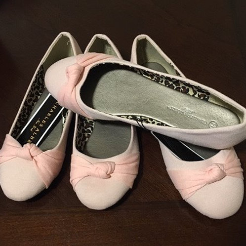 Ladies Pink Knotted Cloth Flat Slip On Shoes
