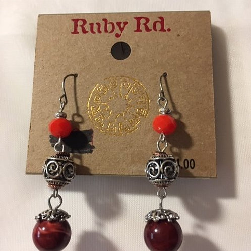 Ladies Silver Burgandy Orange Orb Dangling Pierced Earrings