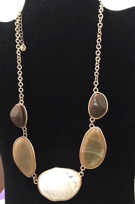 Ladies Gold Taupe Brown Large Rhinestone Necklace