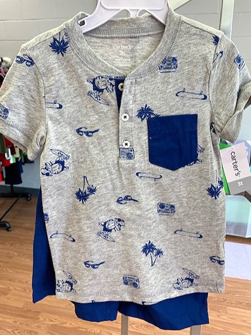 TODDLER BOYS SIZE 3T GRAY BLUE SHORTS SET BY CARTER'S