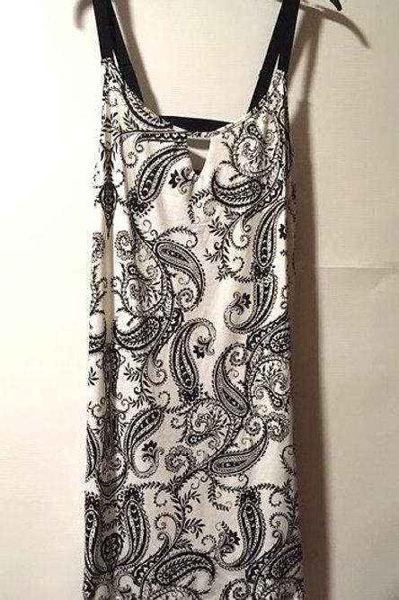Ladies Size Large Black White Adjustable Strap Gown