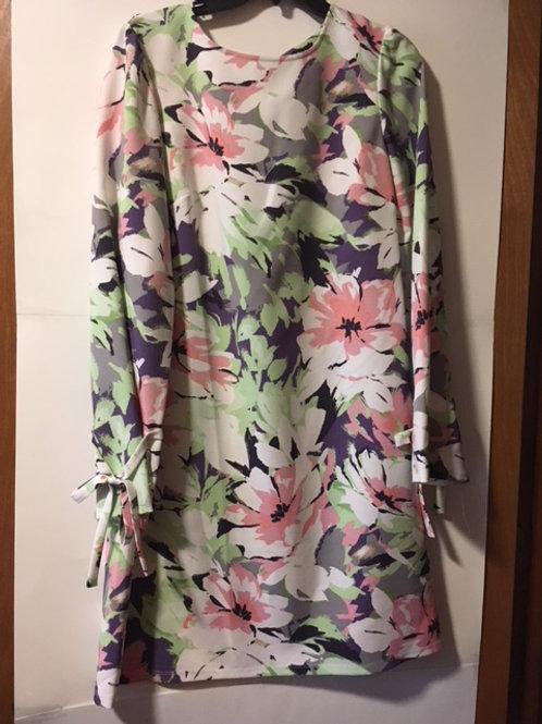 Ladies Floral Pink Mist Long Sleeve Dress