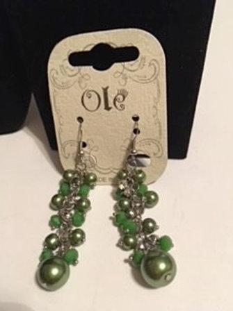 Ladies Green Pierced Dangling Earrings