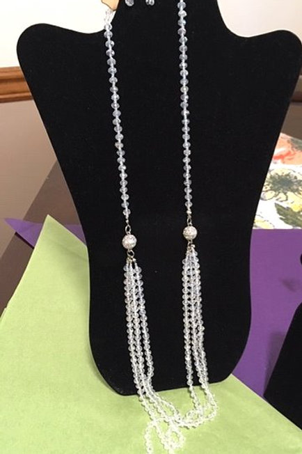 Ladies Clear Iredescent Orbs Necklace & Pierced Earrings Set