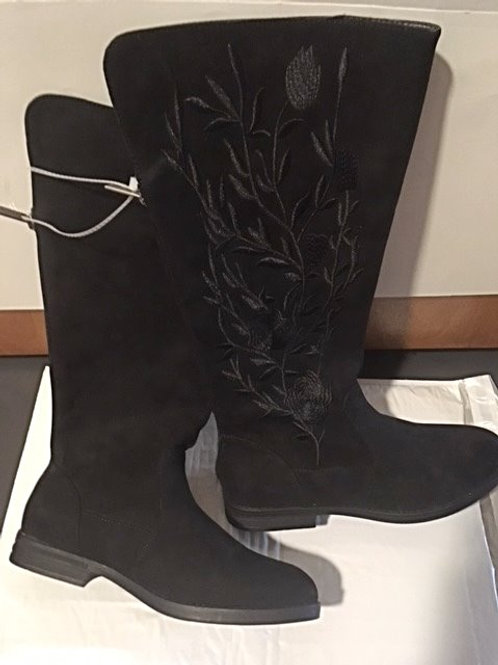 Ladies Size 6 Kenneth Cole Wildflower Embroidered Black Boots