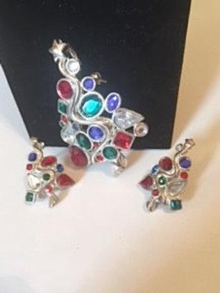 Ladies Silver Christmas Tree Necklace Pendant & Earrings