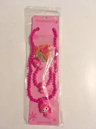 Girls Stretch Hot Pink Necklace Girl Charm Bracelet Ring Set