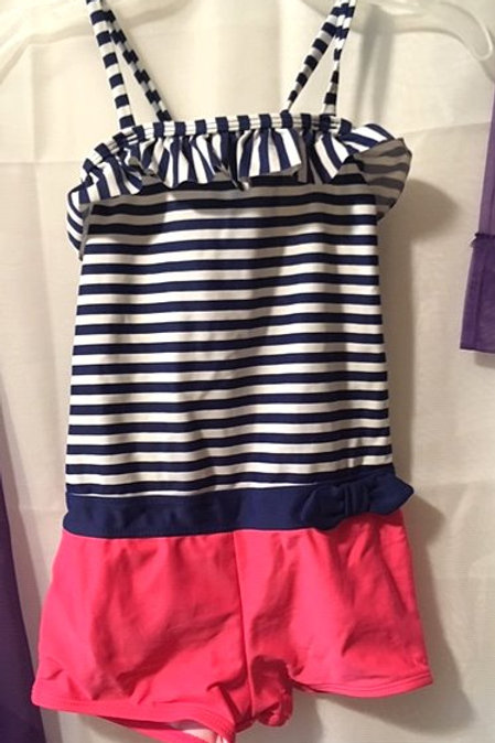 Girls Size 5 Navy Pink One Piece Swimsuit