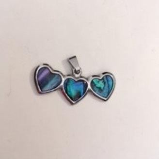 Ladies Silver Three Heart Necklace Pendant
