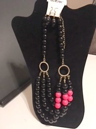 Ladies Black Necklace & Earrings